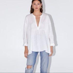 Zara White Oversized Linen Blouse